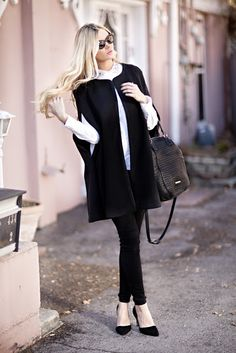 Rebecca Minkoff. Barefoot Blonde. Amber Fillerup Clark. Cape. How to wear a cape. all black. black and white. outfit. outfit inspiration. ootd.