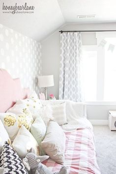 pink and gray little girl s room, bedroom ideas, home decor, paint colors