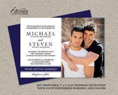 Gay Wedding Photo Invitations, DIY Printable Navy Blue Photo Wedding Invites, Elegant Gay Marriage Announcement Cards