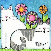 365 Cat Ladies and Friends: Secret Garden Must-Haves Are Revealed! Art Drawings For Kids, Cat Quilt, Pet Rocks, Cat Colors, Cat Drawing, Cat Crafts, Cat Design, Christmas Cats, Whimsical Art