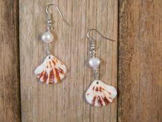 Lion's Paw Shell Earrings White pearl brown Dangle wedding bridal bride handmade artisan artist beachy beach seashell cluster mini Etsy