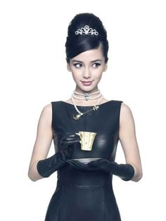 Angelababy - I like this edgier spin on Holly Golightly. She's wearing a leather dress!