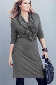 Kenneth Cole New York Ruffled Sweater Dress (plus size fashion)