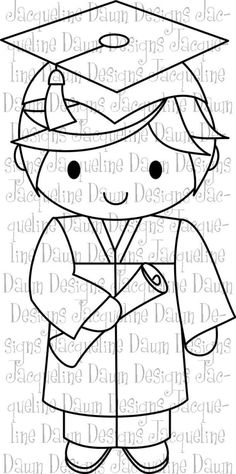 Digital Stamp Billy Graduates by paperaddictions on Etsy Cross Stitch Embroidery, Embroidery Patterns, Quilt Patterns, Colouring Pages, Coloring Books, Felt Crafts, Paper Crafts, Stained Glass Patterns, Digi Stamps