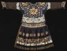 China, embroidered formal dragon robe (chaopao), couched in gold-wrapped threads on the upper half with four five-clawed dragons surrounded by clouds, bats, and the 'Eight Auspicious Emblems' executed in knotted stitch, above terrestrial diagrams clouds and jewels emerging from waves at the waist and sleeves, Qing dynasty, mid 19th century. Photo Sotheby's.