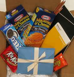 Freshman at college care package or just a fun gift for a student!    The finished package—complete with the card,  notebooks (and some of his favorite junk food!).