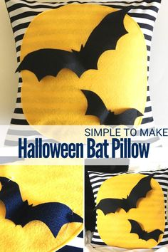 How to Make a Halloween Bat Pillow with felt and fabric - Sewing with Scraps Halloween Sewing, Halloween Bats, Halloween Projects, Sewing Tutorials, Tutorial Sewing, Striped Quilt, Halloween Activities For Kids, Diy Pillows, Cushions