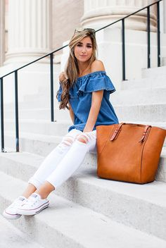 summer outfit, casual outfit, comfy outfit, street style, summer travel outfit, summer vacation outfit - denim off the shoulder top, chambray off the shoulder top, white distressed skinny jeans, white converse sneakers, brown tote bag, mirror aviator sunglasses