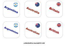 Londonopoly: Countries and nationalities - szybka gra na powtórzenie słownictwa