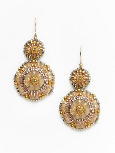 Miguel Ases Jewelry - Topaz Beaded Double Disc Drop Earrings - $79