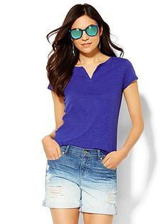 Shop Soho Split-Neck Tee - Solid . Find your perfect size online at the best price at New York & Company.