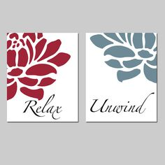 SALE - Relax and Unwind - Set of Two 8x10 Floral Bathroom Prints - Typography - Burgundy Red, Black, White, Deep Teal Blue