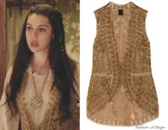 In the nineteenth episode Mary wears this sold out Vera Wang Embroidered Silk-Chiffon and Mesh Vest. Worn with Oscar de la Renta necklace, Emily Elizabeth earrings, Gillian Steinhardt labyrinth and signet rings.