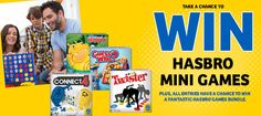 Enter for a chance to instantly win a Connect 4 mini , Twister, Guess Who or Hungry Hungry Hippo game PLUS be entered to win a weekly prize bundle of games including Mouse Trap and Operation.  Good luck!
