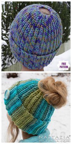 Crochet Ribbed Bun Hat Free Crochet Pattern Crochet Animal Hats, Crochet Beanie, Crochet Yarn, Easy Crochet, Crochet Hooks, Free Crochet, Knitted Hats, Crochet Girls, Crochet Woman