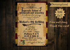 Check out this item in my Etsy shop https://www.etsy.com/listing/497635395/harry-potter-birthday-invitation