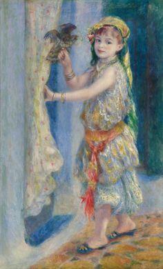 "Pierre-Auguste Renoir, ""Child with a Bird"" (Mademoiselle Fleury in Algerian Costume), 1882, oil on canvas."