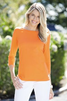 3/4 Sleeve Boatneck Soft Essentials Tee is lightweight, comfortable and oh-so soft. This classic, casual shirt is a must for layering.