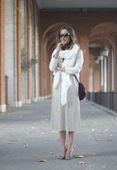Silver Pleated Midi Skirt | BeSugarandSpice - Fashion Blog
