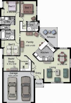 4 Bedrooms double garage house floor plan
