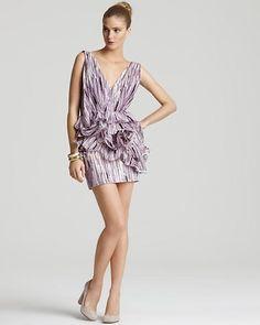 Vera Wang Lavender Label Dress Watercolor Print | Adult Womens Printed Contemporary Silk Cotton Clothing
