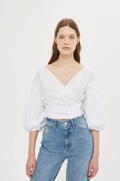 Puff Sleeve Poplin Wrap Top