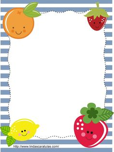 BORDERS FOR KID: Caratulas Frutas Borders For Paper, Borders And Frames, Page Boarders, Diy And Crafts, Crafts For Kids, English Lessons For Kids, Letters For Kids, Frame Template, Note Paper