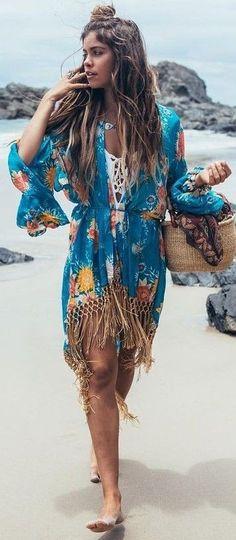 #spellandthegypsycollective #boho #outfits    Fringe Printed Kimono