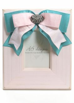 Pink Chloe Picture Frame with Turquoise & Pink Ribbon