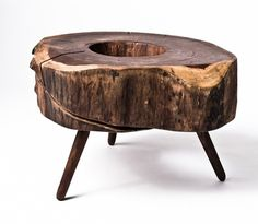Jordan End Table Springer Design This end table from Sean Springer is made of walnut wood, locally sourced in Dallas, Texas. The material used to create this item comes from rescued trees and is truly sustainable. Trunk Furniture, Furniture Covers, Diy Furniture, Inexpensive Furniture, Unique Furniture, Rustic Furniture, Planter Table, Wood End Tables, How To Antique Wood