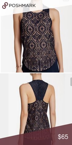 David Lerner navy blue lace top Sz medium NWOT navy blue razor back lace top zipper back David Lerner Tops Blouses