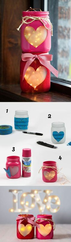 Mason Jar Heart Lantern DIY with copper wire fairy string lights or a flameless tea light candle. This is a fantastic home decorating project or DIY* gift idea for your special someone for Valentine's(Diy Ideas Manualidades) Pot Mason Diy, Mason Jars, Valentines Bricolage, Valentine Day Crafts, Valentine Decorations, Decoration Crafts, Kids Valentines, Wedding Decorations, Christmas Decorations