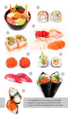 Japanese cuisine for beginners. Variety of sushi Sushi Recipes, Asian Recipes, Cooking Recipes, Healthy Recipes, Japanese Sushi, Japanese Dishes, Jai Faim, Types Of Sushi, My Sushi