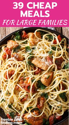 Do you have a big family to feed on a little budget? Then these 39 easy, delicious, and cheap meals for large families are a must try! Here you'll find crockpot recipes, chicken recipes, pasta recipes, recipes with rice, and more frugal yet satisfying meals to keep your family's bellies full. You'll also spot many cheap healthy dinner ideas too. Head on over and find your favorites! #cheapdinnersforafamily #cheaphealthymeals #budgetmealplanning #budgetmeals Cheap Healthy Dinners, Cheap Meals, Healthy Foods To Eat, Easy Meals, Large Family Meals, Large Families, Big Family, Low Fat Chicken Recipes, Pasta Recipes