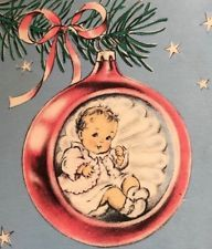 Baby's First Inside Pink Indent Ornament Stocking Bear Christmas Vtg Card Vintage Christmas Images, Retro Christmas, Christmas Baubles, Christmas Wrapping, Christmas Tag, Christmas Colors, Christmas Treats, Vintage Images, Xmas