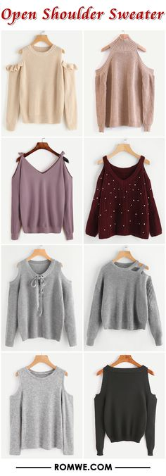 open shoulder sweaters from romwe.com