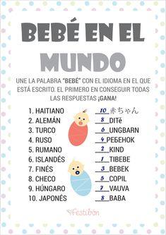 Bebé en el mundo - Juegos para baby shower para imprimir | JUEGOS DE BABY SHOWER GRATIS