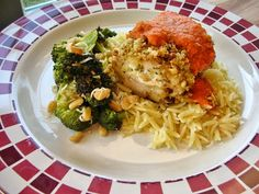 Basil: Pistachio-Crusted Chicken with Red Pepper Coulis