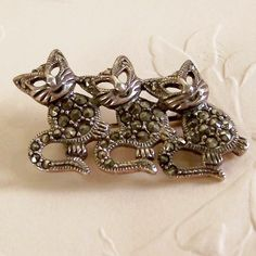 Sterling Silver Marcasite Three Little Kittens Pin / Brooch
