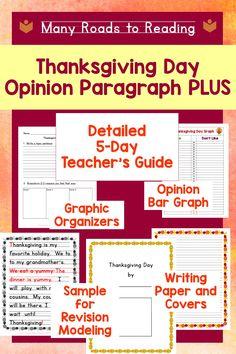 Thanksgiving Writing   Opinion Paragraph Lesson Plan