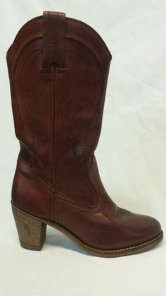Vintage DEXTER women's brown leather cowboy boots size 7.5m in Clothing, Shoes & Accessories, Women's Shoes, Boots | eBay