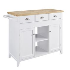 Features:  -3 Drawers, 2 open shelves included.  -2 Enclosed cabinet areas for hidden storage.  -Opposite ends includes a pull out table..  Product Type: -Kitchen Cart.  Base Finish: -White.  Base Mat