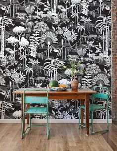 Jungle Dream in Contrast Wallpaper by Aimee Wilder. Get lost in this nocturnal fantasy jungle-scape! Flora and fauna combine to create the ultimate dreamy pattern. Bright Wallpaper, Modern Wallpaper, Vinyl Wallpaper, Designer Wallpaper, Wallpaper Ideas, Wallpaper Jungle, Kitchen Wallpaper, Wallpaper Designs, Green Wallpaper