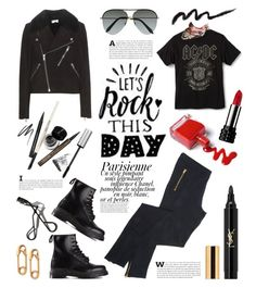 St. Piece Wardrobe Inspiration with silk twill neckerchief 'Chloris Red' Style with scarf #179 #rockerstyle #rockerchic #fashion #fashionset #style #streetstyle #polyvore #polyvorecontest #rocker #black #leather #suede #bikerjacket #leatherjacket #saintlaurent #tee #tshirt #legings #trousers #skinnyjeans #boots #drmartens #sunglasses #aviator #victoriabeckham #jewellery #earrings #safetypin #neckerchief #silk #silkscarf #stpiece #st_piece #cosmetics #makeup #beauty #eyeliner…