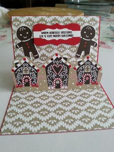 Christmas card using Stampin up stamps, Cookie-Cutter Christmas with the matching Punch builder Cookie Cutter. and DSP Candy Cane Lane.