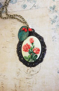 Red Rose Necklace Long Necklace Large Cameo by apocketofposies,