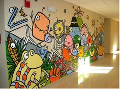 Bren Bataclan created a mural in a school hallway in collaboration with the third graders - illustrating the third grade curriculum.  115 Smiles - Classroom 2.0