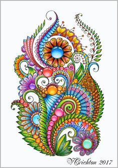 Zentangle art, zentangle gems and droplets, colour pencils. Dibujos Zentangle Art, Zentangle Drawings, Art Drawings, Zentangles, Flower Drawings, Zen Doodle Patterns, Zentangle Patterns, Zentangle Art Ideas, Doodle Borders