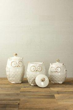 SET/3 BIG EYE OWL CANISTER- WHITE $60.00 Kitchen Themes, Kitchen Ideas, Owl Home Decor, Ceramic Owl, Owl House, Solomon, Big Eyes, Kitchen Stuff, Home Accents
