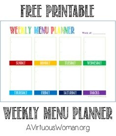 Free Weekly Calendar Template  Printables    Weekly